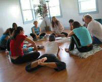 Group process at Living Yoga Program intensive